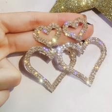 Sterling, Heart, wedding earrings, sterling silver