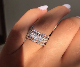 Couple Rings, crystal ring, wedding ring, 925 silver rings