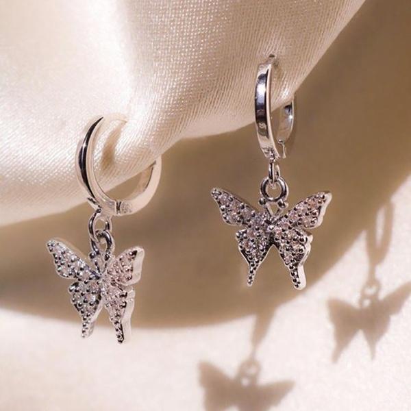 butterfly, DIAMOND, Dangle Earring, dangleearing