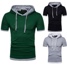 Summer, stitchingtshirt, hooded, Sleeve