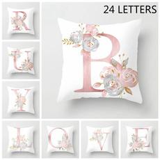 Decorative, pink, Polyester, letterpillowdecoration