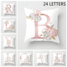 Decorative, pink, Polyester, letterpillowdecoration