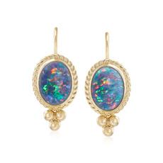 yellow gold, opalearring, Gemstone Earrings, gold
