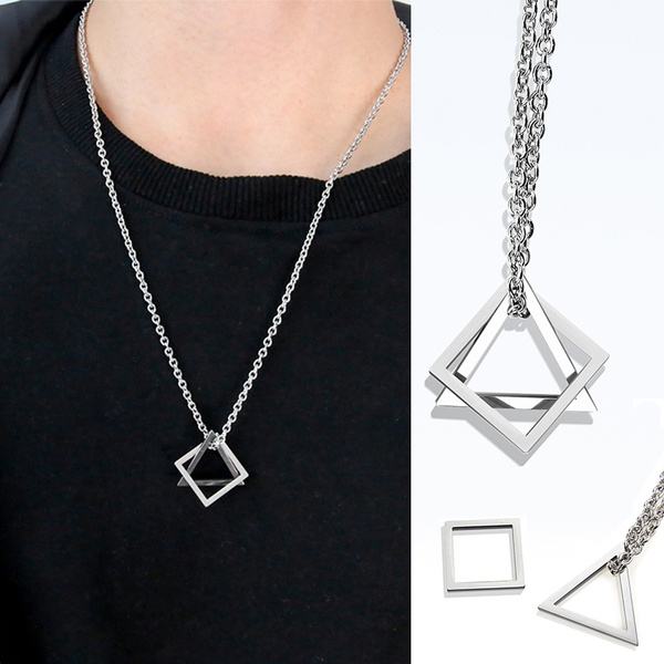 clavicle  chain, trianglesquarenecklace, Triangles, interlocking