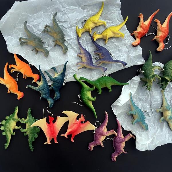 Funny, dinosaurdropearring, dinosaurshapeearring, Gifts