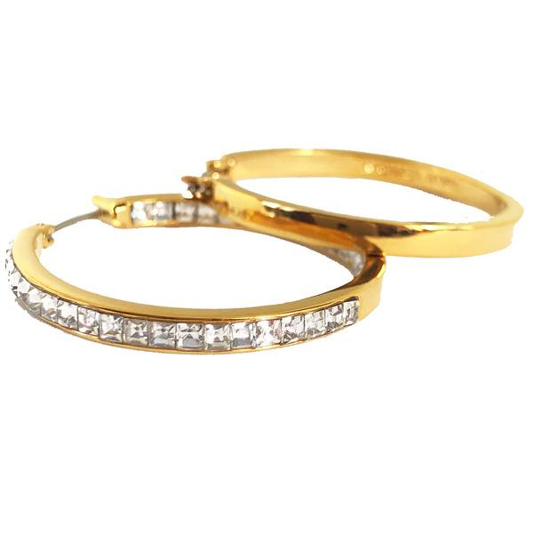 Cubic Zirconia, Hoop Earring, Jewelry, gold