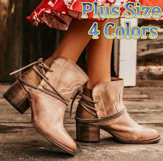 ankle boots, Plus Size, Womens Shoes, casual leather shoes