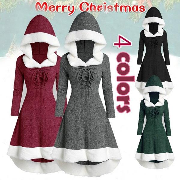 Swing dress, hooded, partydressesforwomen, Christmas