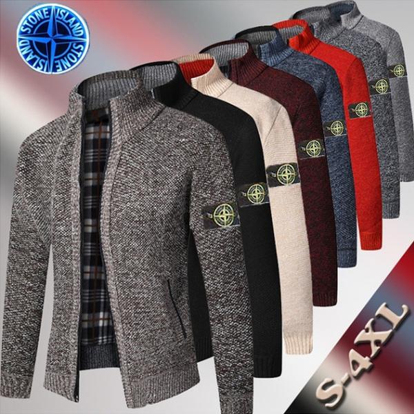 Stand Collar, cardigan, Cotton, Winter