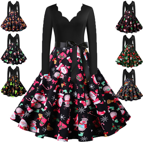 Swing dress, party, Print Dresses, christmascostume