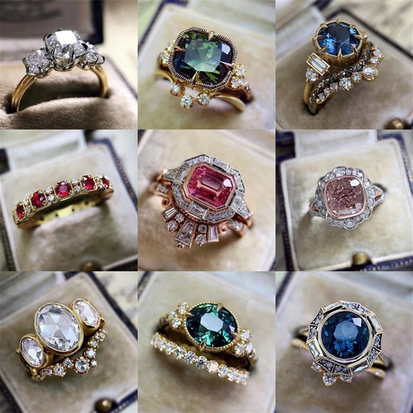 Sterling, DIAMOND, Women Ring, gold