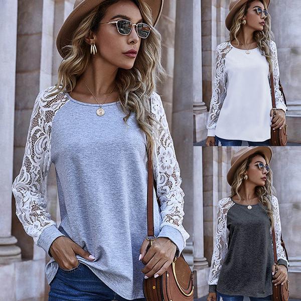 Fashion, Lace, Sleeve, Women Blouse