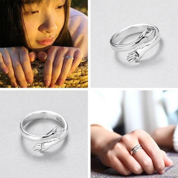 Sterling, Heart, huggingring, Jewelry