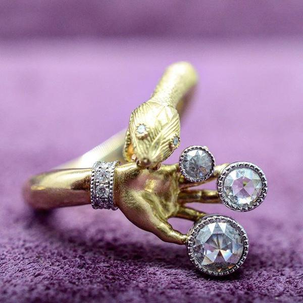 DIAMOND, gold, snakering, Fashion Accessories