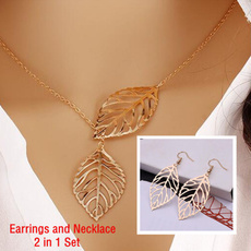 leaves, earringandnecklaceset, Fashion, womenpendantnecklace