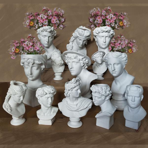 Head, flowervase, Ornament, Vases
