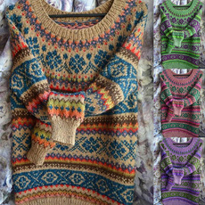 bohemia, Plus Size, long sleeve sweater, pullover sweater