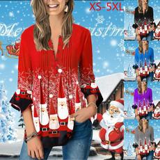 blouse, printtopforwomen, Christmas, Women Blouse