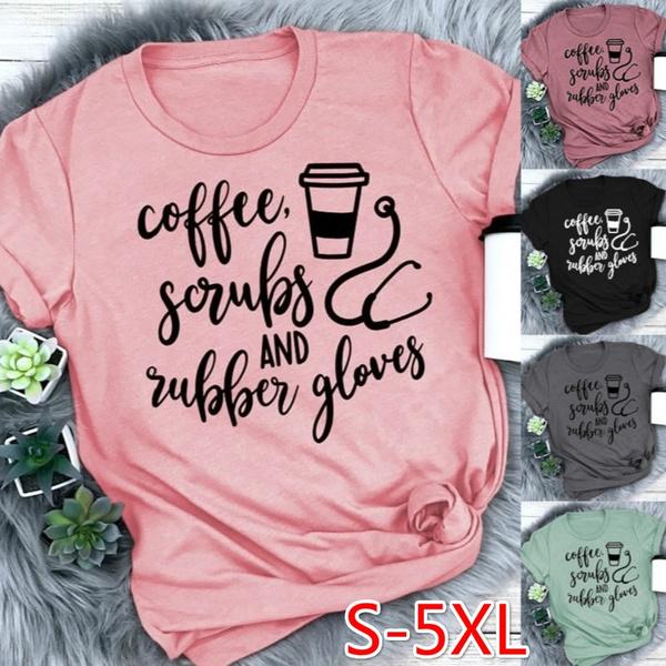 Coffee, Fashion, Cotton T Shirt, letter print