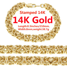 yellow gold, 8MM, Chain bracelet, chianbracelet