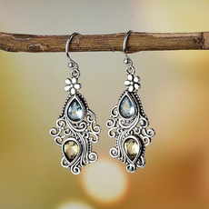 Blues, Flowers, Dangle Earring, Jewelry