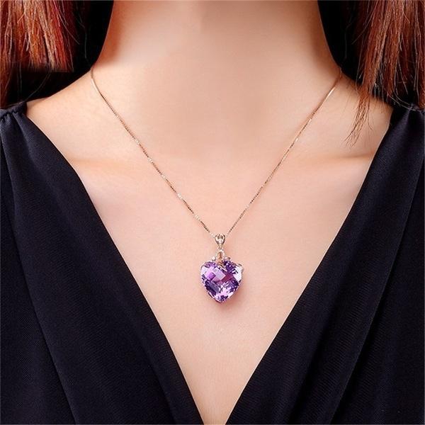 Heart, Chain Necklace, Fashion, amethystpendant