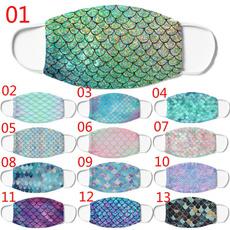 Algodón, Colorful, printedfacemask, mermaidscalesmask