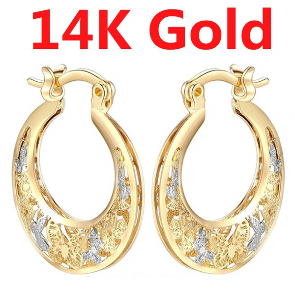 White Gold, engagementgift, Hoop Earring, butterfly