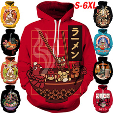 Hip-hop Style, 3D hoodies, noodle, ramenbowl
