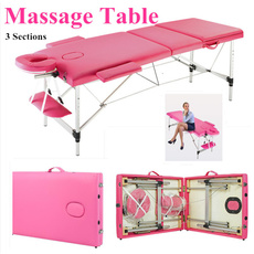 pink, massagetable, folding, portable