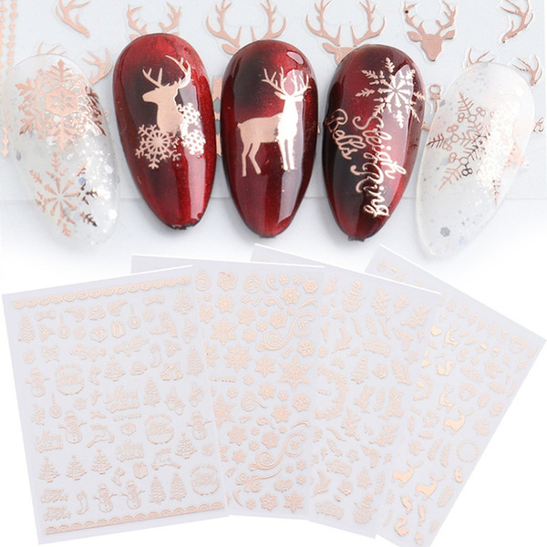 nail decals, art, Christmas, gold