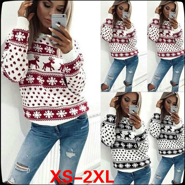 Fashion, long sleeve sweater, Snowflakes, Sweaters