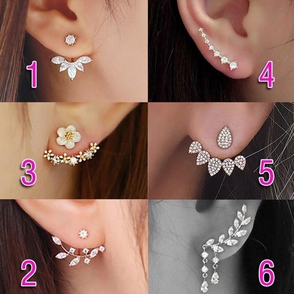 Crystal, Flowers, Jewelry, Stud Earring
