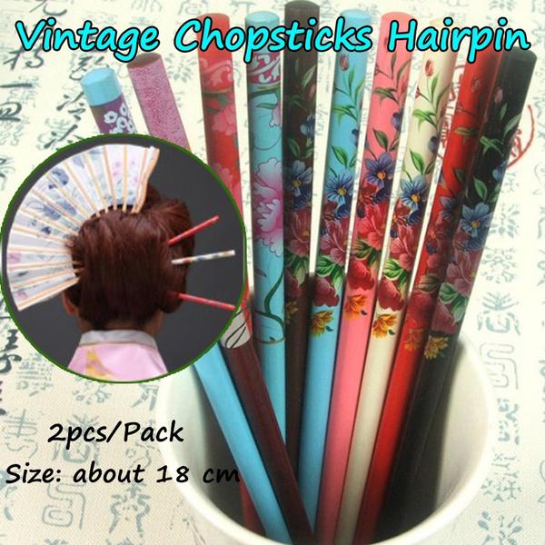 hairchopstick, womenhairpin, Wooden, retroheaddre
