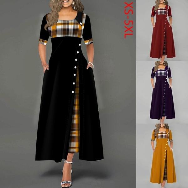 Fashion, Plaid Dress, Sleeve, long dress