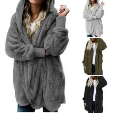 hooded, fur, Hoodies, Long Coat