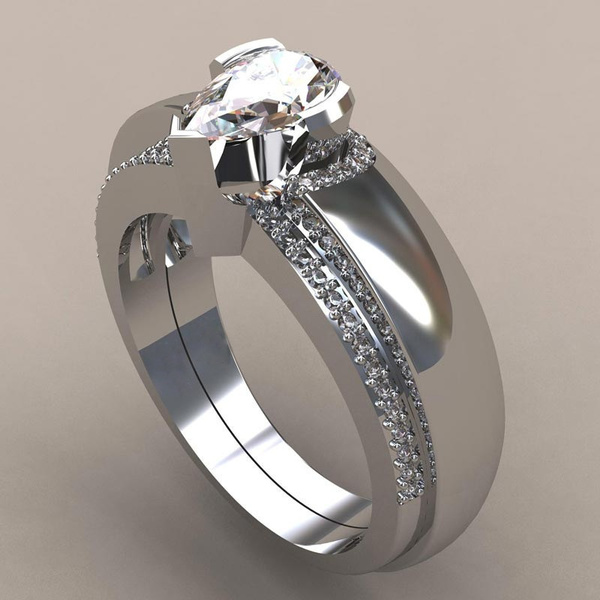 foreverlovering, Beautiful, Engagement Wedding Ring Set, wedding ring
