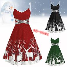 deerprintdre, Sleeveless dress, santadre, Plus Size