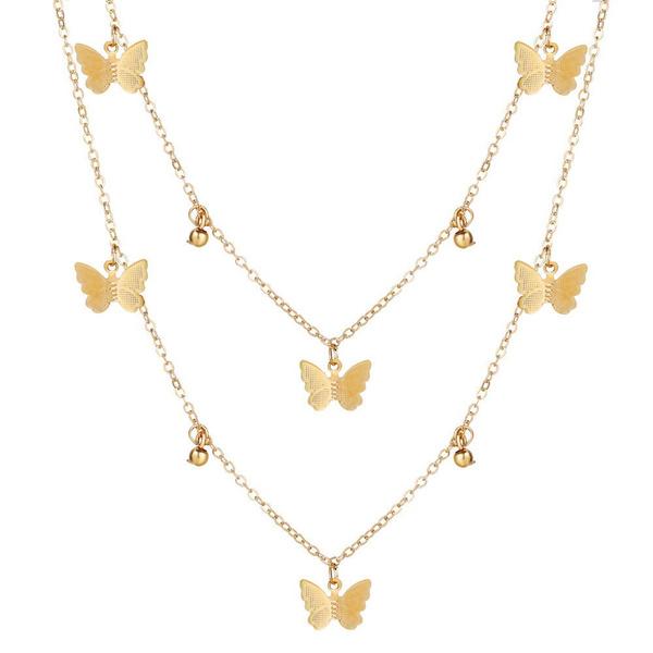 butterfly, doublelayerneckpendant, Fashion, women necklace
