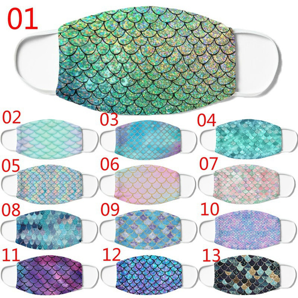 Cotton, Colorful, printedfacemask, mermaidscalesmask