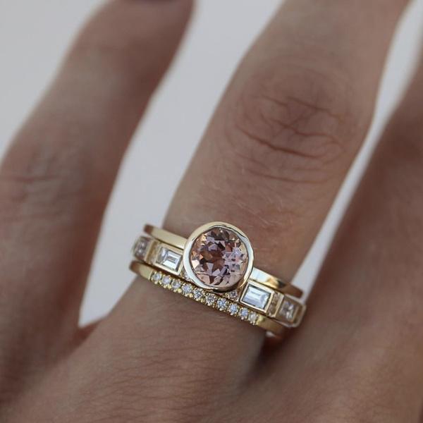 Beautiful, Engagement Wedding Ring Set, gold, Engagement Ring