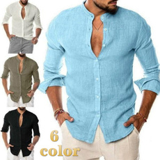 Stand Collar, cardigan, Shirt, Long Sleeve