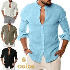 Stand Collar, cardigan, Shirt, Long Sleeve