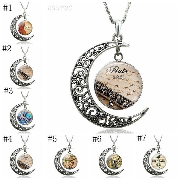 musicnotation, women necklace, Glass, flute