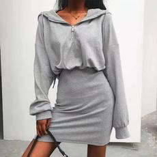 hooded, sweater dress, hedging, Long Sleeve