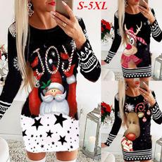 Plus Size, sleeve dress, Christmas, Sleeve