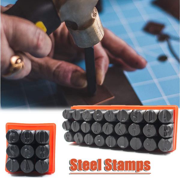 Steel, markengraved, leather, metalpunchset