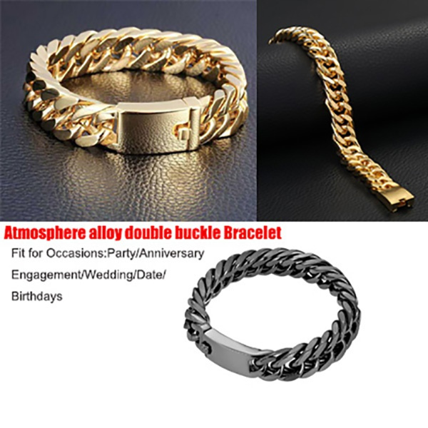 Men, Jewelry, Buckles, doublebuckletrendatmospherebracelet