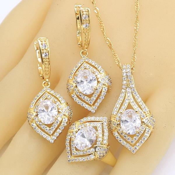 goldcolorjewelryset, crystalnecklaceset, whitegreenzircon, gold
