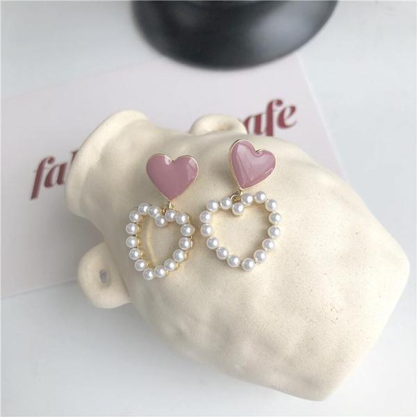Heart, Love, Hollow-out, Pearl Earrings